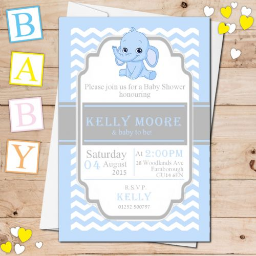 10 Personalised Boy Blue Elephant Baby Shower Invitations N18